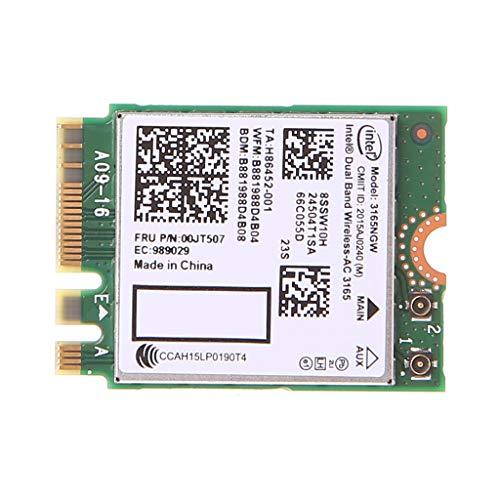 Ontracker - Tarjeta WLAN, Int-EL Dualband Bluetooth Wireless-AC 3165 BT4.0 2,4G/5G 433M NGFF NGW
