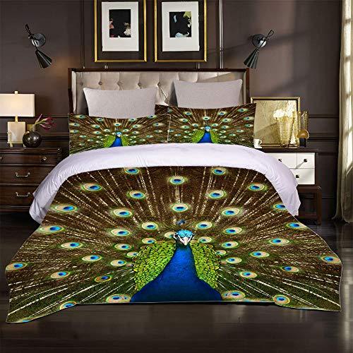 3D Duvet Cover Set for Double Size Bed Color animal peacock Printed Bedding Sets Super Soft Bedroom Microfiber Duvet Set Quilt Case with Pillowcases 260x240cm
