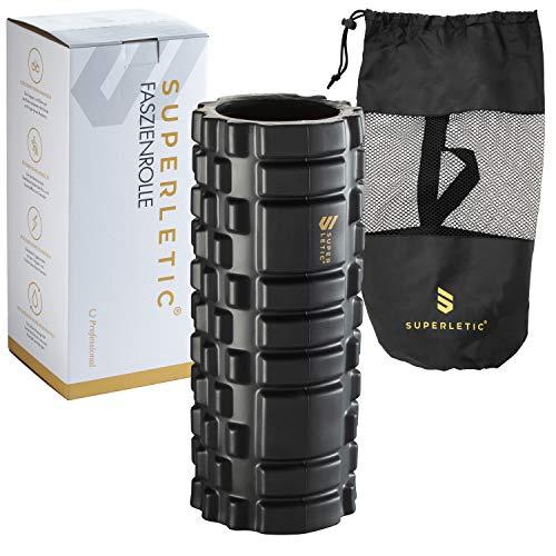 SUPERLETIC Faszienrolle Professional I Massagerolle für Faszientraining I Schaumstoffrolle mit Massagenoppen für Faszien Fitness I Faszien Rolle für Wirbelsäule, Rücken, Beine (schwarz)