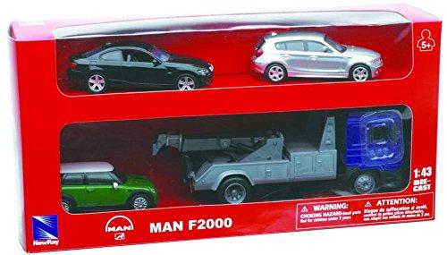New Ray 15855–Truck Man F2000Towing Camión con Tres Coche, Escala 1: 43