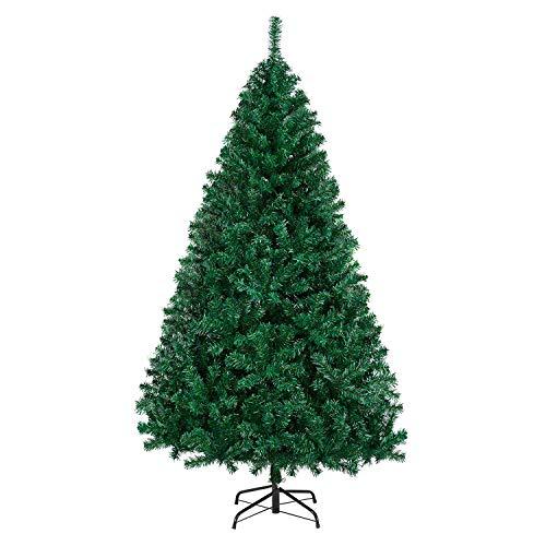 Yaheetech Weihnachtsbaum künstlich 180cm (Ø ca.110cm) mit ca.1000 Spitzen, Tannenbaum aus Fichte Dekoration, inkl. Metall Christbaum Ständer, Schnellaufbau, klappbar