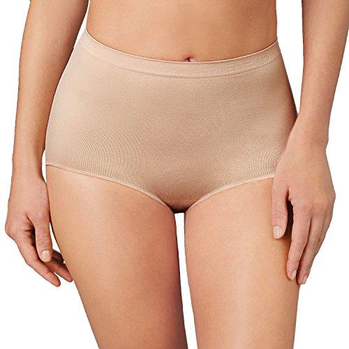 Ellen Tracy Essentials Womens Seamless Briefs 4-Pack Panties (Large, Ivory Tan)