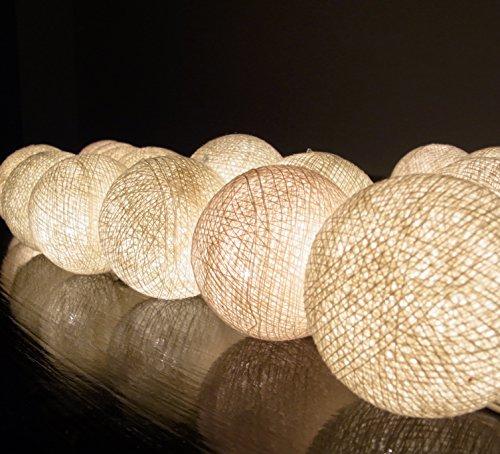 ボール型ライト イルミネーションライト Cotton Ball Light 20/セット 室内装飾 クリスマス パーティー ハンドメイド 古典的 ランプ  綿 コットン ボール 電球 ストリング ライト クリーム