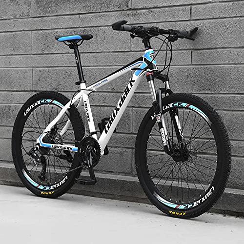 SHUI 21/24/27 Velocidades Bicicleta De Montaña, 26'' Plegable MTB Bicicleta De Deporte De Montaña, Bicicletas con Freno De Disco Doble para Hombres Y Mujeres Entusiastas White-Blue-27 Speed