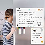Magnetic Dry Erase Whiteboard Sheet for Fridge - with Stain Resistant Technology, 14.7' x 11.4' , Includes 6 Dry Erase Markers and One Extra to Do/Grocery List/Shopping List Whiteboard (5.8' x 8.3')
