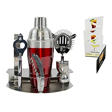 Mix your drinks like a Pro-EP 304 18/8 Stainless Steel Cocktail Shaker Set -7pc Bar Accessories - Bartender Kit Martini Mixer, Jigger, Strainer,Tongs,Corkscrew,Opener,Storage Rack & Bonus Recipe Book
