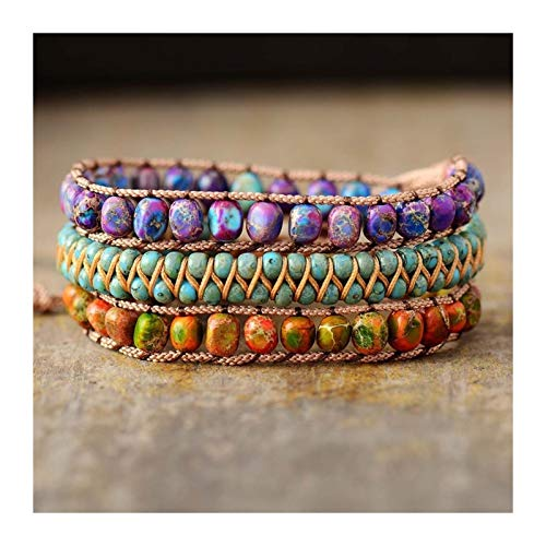 ZAOPP Beaded Wrap Bracelets Natural Stone Jaspers Strand Wristband Women Bohemian Vegan Jewelry Accessories