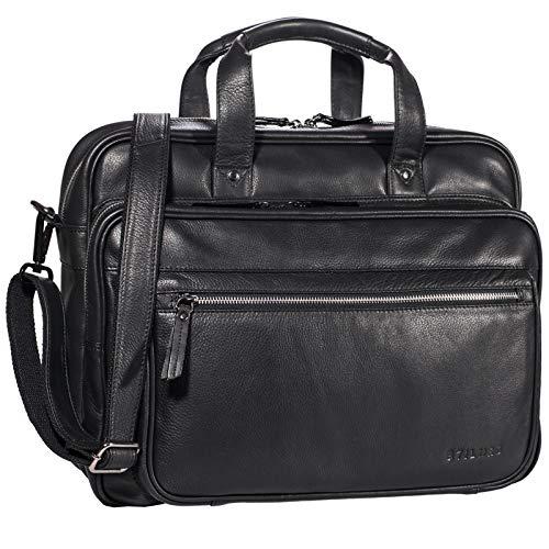STILORD \'Walt\' Vintage Aktentasche Leder Herren Damen Lehrertasche XL groß Büro Business Umhängetasche für 15,6 Zoll Laptop Echt Leder, Farbe:schwarz