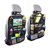 HUAZHAN Car Seat Back Organizers,Backseat Car Organizer,Kick Mats Back Seat Protector with Touch Screen Tablet Holder,Car Back Seat Organizer for Kids,Car Travel Accessories,Kick Mat with 9 Storage Pockets,Black,2 Pack