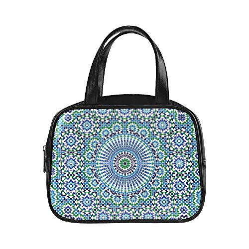 Bolso de senderismo para mujer Marruecos Sin costura árabe tradicional Islami Moda Bolso de mujer Bolsas de mano para mujer Pu de cuero con asa superior Bolso de mano Bolsa de mano