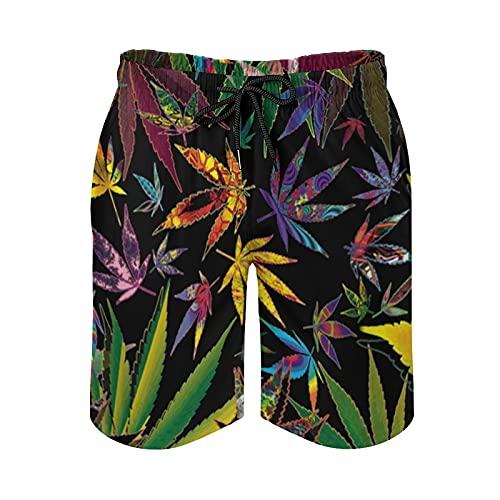 136 Pot Leaves Graphric Hombres Verano Casual Playa Pantalones Cortos De Secado Rápido