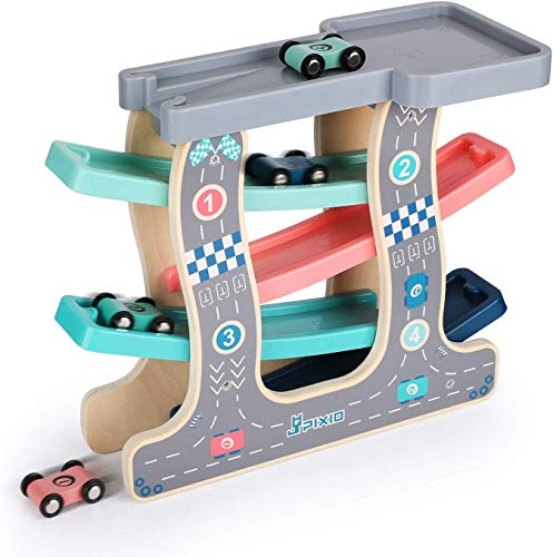 Baybee Wooden Gliding Car for Kids, Baby Toy Car Games, Kids Toys Set with 4 Race Track, Parking Slot & 4 Mini Cars, Kids Toy car Suitable for Girls & Boys