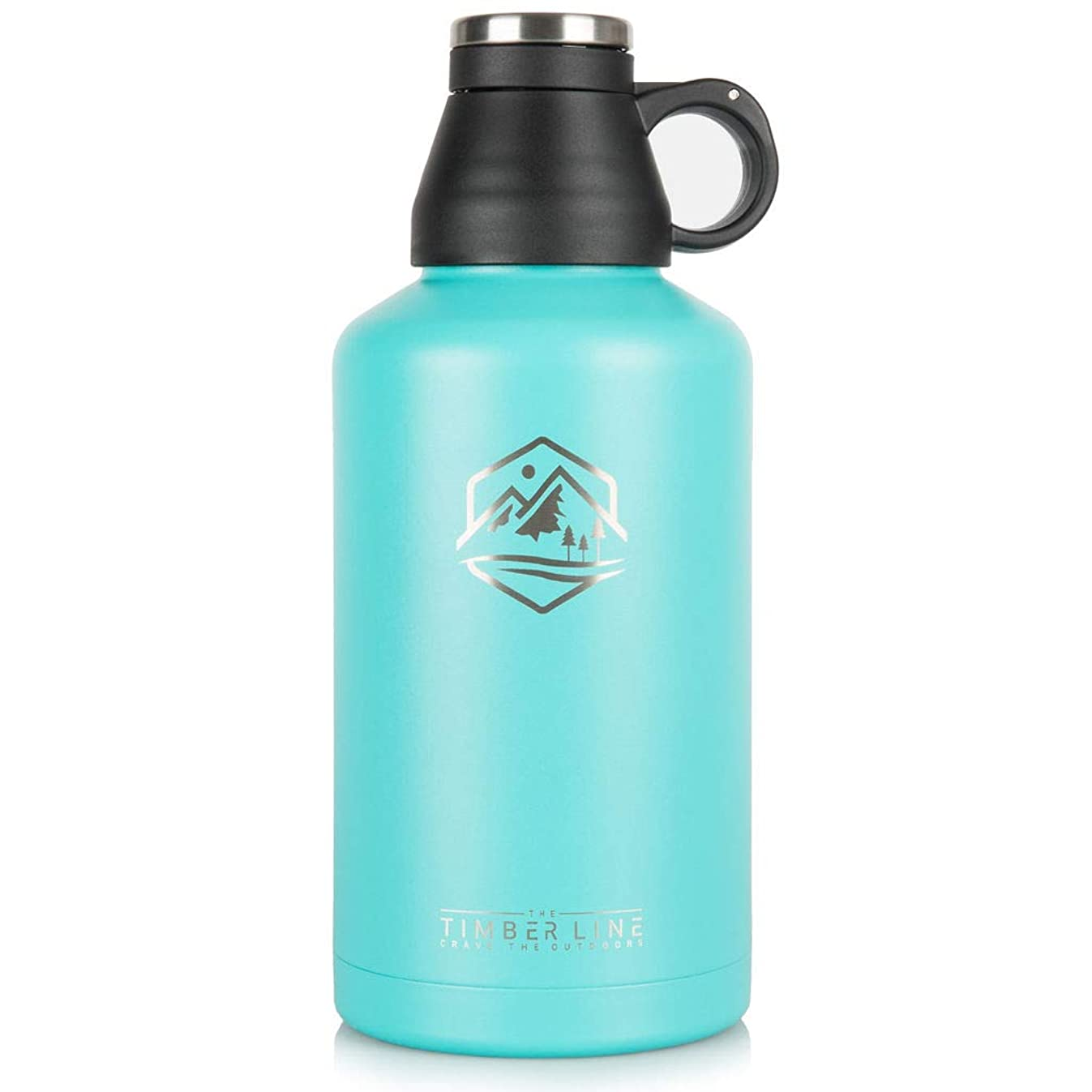 The Timber Line 64 oz Insulated Water Bottle and Beer Growler, Vacuum Insulated Stainless Steel, BPA Free, Double Walled Half Gallon Water Jug, Wide Mouth, Leak Proof Cap, Keeps Drinks HOT and Cold
