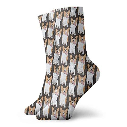 Corgi Friends Running Together Calcetines clásicos deportivos cortos 30 cm/11.8 pulgadas adecuado para hombres y mujeres