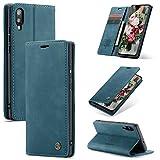 FMPC Handyhülle für Samsung Galaxy M10 Premium Lederhülle PU Flip Magnet Hülle Wallet Klapphülle Silikon Bumper Schutzhülle für Samsung Galaxy M10 Handytasche - Blaugrün