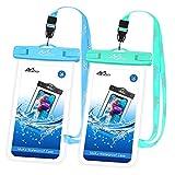 MoKo wasserdichte Handy Tasche 2 Pack, Universal wasserdichte Handyhülle mit Umhängeband für iPhone 12/12 mini/12 Pro/11/11 Pro/11 Pro Max/X/Xs/Xr/Xs Max/8/7, Galaxy S10/S10e/S9, Himmelblau/Mint Grün