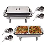 KingSaid Pack Of 2 Stainless Steel Chafing Dish Sets With 9L Food Pans Fuel Holders for Catering Buffet Warmer Tray Dining