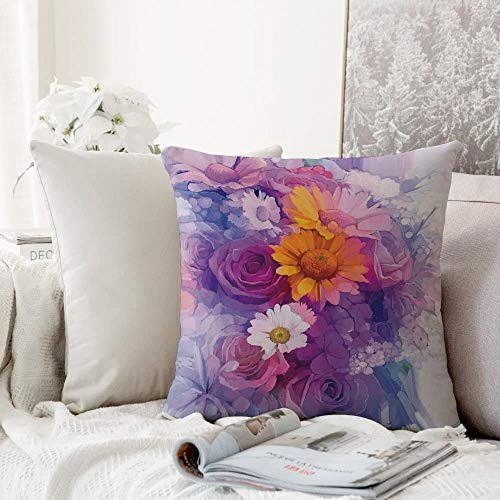 Decorative Pillowcase Throw Pillow Cushion Cover,Watercolor Flower,Bouquet of Rose Daisy and Gerbera Flowers Impressionist Style,Purple Lilac Orange,,Throw Pillow Case, Home Sofa Bedroom Decoration