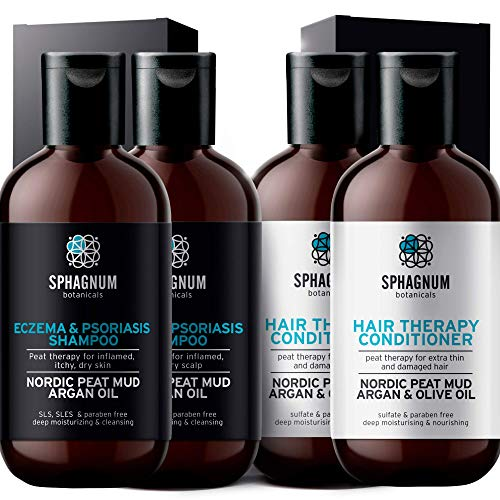 Psoriasis Shampoo and Conditioner Double Set - 2 Shampoos and 2 Conditioners. Peat Mud with Fulvic and Humic Acids mixed with Argan and Olive Oil Treatment.