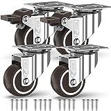 GBL - 4 Möbelrollen und Schrauben 50mm 200Kg Transportroller Lenkrollen mit Bremse Schwerlastrollen...