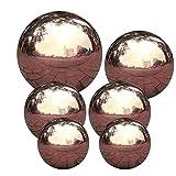 6pcs Bola Mirada, Bola de la Esfera de jardín, Espejo Pulido Bola Hueca de Acero Inoxidable para Adornos de jardín para el hogar Decoraciones
