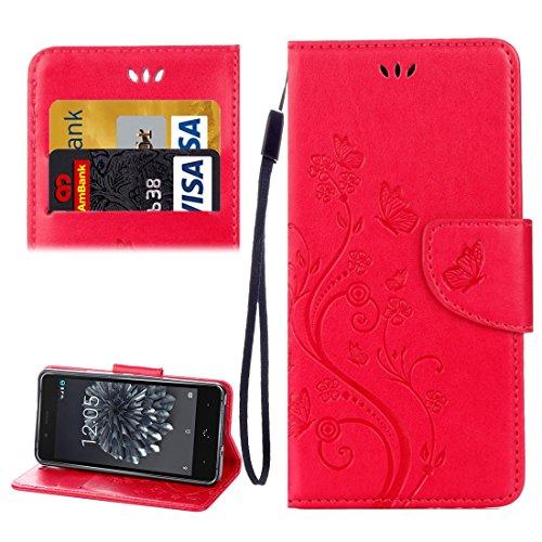 Funda impermeable para smartphone For mariposas BQ Aquaris X5 Plus Love Flowers Relieve Funda de cuero con tapa horizontal con soporte y ranuras for tarjetas, billetera y cordón ( Color : Red )