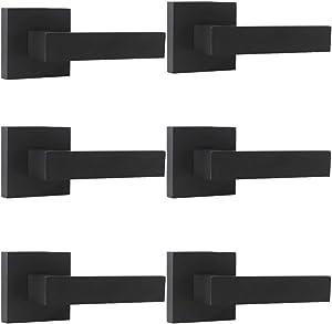 Probrico Matte Black Door Lever Dummy Handle Handleset (6 Pack), Single Handle Leversets for Interior Doors,Heavy Duty Dummy Lever Set- NO Latch Mechanism