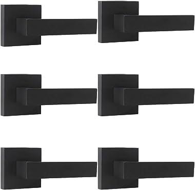 Probrico Matte Black Door Lever Dummy Handle Handleset (6 Pack), Single Handle Leversets for Interior Doors,Heavy Duty Dummy