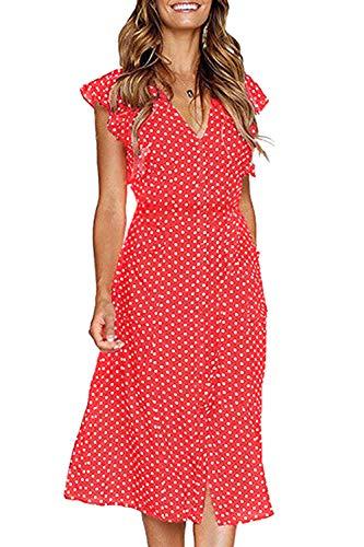 FUTURINO Damen Sommerkleid Elegant Vintage Cocktailkleid Kurzarm Kleider Unregelmäßige Strandkleid mit Knöpfen, Rot, L(EU 40)