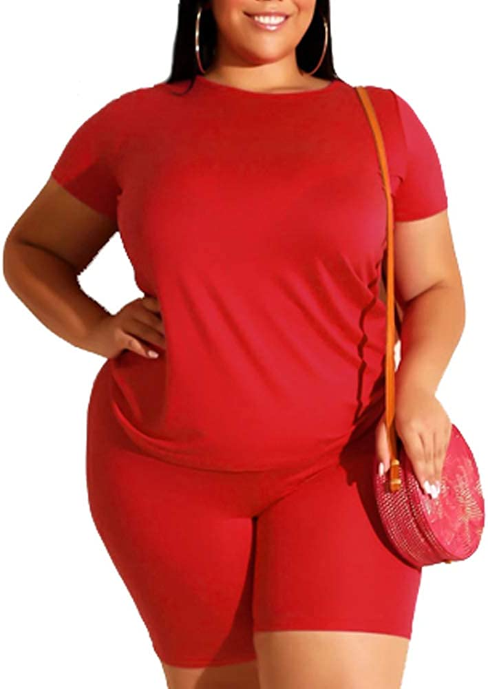 Plus Size Short Sets Summer 2 Piece Outfit Tracksuit Short Sleeve Tshirt Bodycon Shorts Jogger Set Rompers Sportswear Orange Red 4X