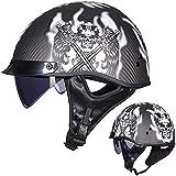 ZHXH Casco de ciclomotor, medio casco de motocicleta para adultos retro Casco de fibra de carbono en forma de cuenco Casco de cara de paseo en la calle/punto aprobado