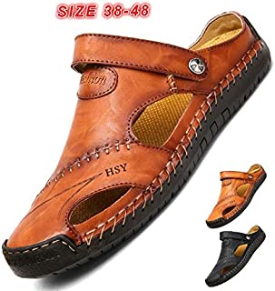 2019 New Fashion Men Hand Stitching Soft Outdoor Closed Toe Leather Sandals Fashion Breathable Slippers Size EU 38-48(Black,EU38/ US6)