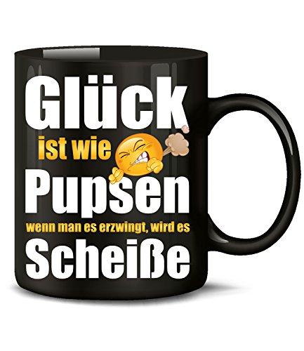 Golebros Glück ist wie Pupsen wenn Man es erzwingt Wird es Scheiße 5865 Handwerker Arbeitkollegin Fun Tasse Becher Kaffeetasse Geschenk Kacken Liebe Schwarz