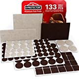X-PROTECTOR Premium Two Colors Pack Furniture Pads 133 Piece! Felt Pads Furniture Feet Brown 106 + Beige 27...