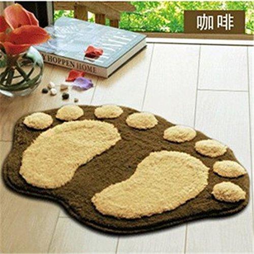 Airblasters Microfiber Lovely Flocking Big Feet Pad Floor Mat Bedroom Area Rug Carpet 58.538.5cm(Coffee)