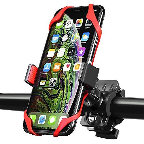 HIOD Soporte Universal para Teléfono Móvil para Bicicleta Soporte Antideslizante para Manillar de Motocicleta,Red