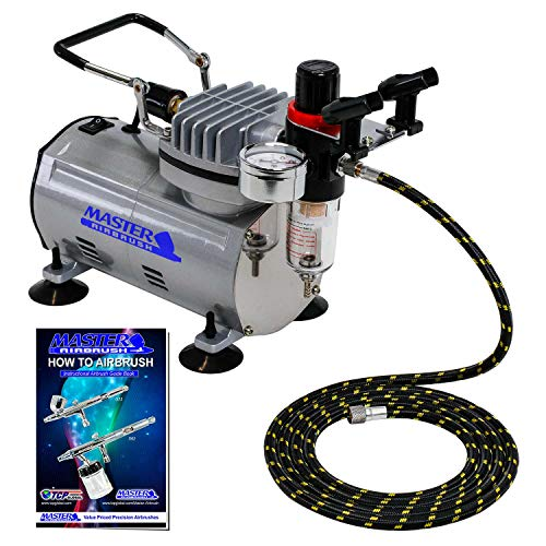 Master Airbrush 1/5 HP Air Compressor Model TC-20 - Professional High Performance Single-Piston with Air Pressure Regulator, Water Trap Filter, Dual Airbrush Holder - Hobby Paint, Cake, Tattoo Art