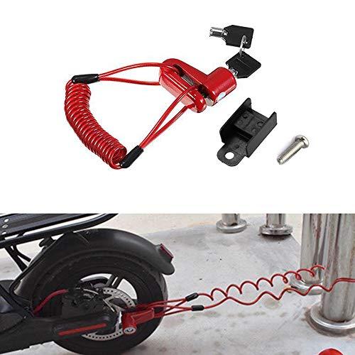 Linghuang M365 Protezione Antifurto Freni a Disco Blocco con Filo d'acciaio per Xiaomi Mijia M365 Scooter Elettrico Ruote Skateboard Blocco Freno a Disco Kickscooter (rosso)