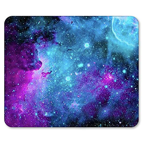 Mouse Pad with Double Stitched Edge, Blue Purple Galaxy Mousepad Non-Slip Rubber Mouse Pads for Office Gaming Dorm Computer Laptop Travel 9.4×7.9×0.12 Inch