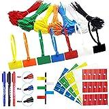 Sujetadores de cable con etiqueta 100 mm x 2,5 mm bridas para cables 200 Piezas Sujetacables cable con etiquetas marcador Correas de Cable para marcar y organizar los cables