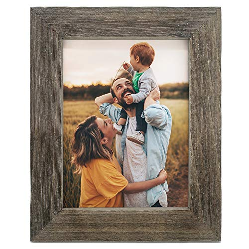 IKEREE 8.5x11 Picture Frames, Handmade Farmhouse Photo Frame with Rustic Looking, Built-in Easel for Tabletop or Wall Mounting Display