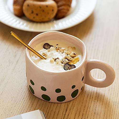Qier Tazas De Café Cerámico Novedad Creative Mark Cup, Taza De Leche para El Desayuno De Oficina Té De La Tarde, Tazas con Asa De Anillo para Microondas, Rosa, 300 Ml / 10 Oz