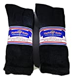 6 Pair Black Physicians Choice Diabetic Socks Mens Crew Sock 10-13 Made in USA Non Binding Loose fit top