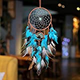 Dream Catcher Blue Tree of Life with Feathers, Handmade Indians Traditional Circular Net for Wall Hanging Decor, Bedroom Kids, Home Decoration Wedding Party Blessing Gift