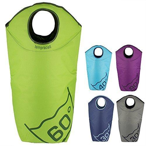 tempracell - Cestos para la colada plegables - saco para la colada - bolsa de lavanderia - cesta de ropa - (verde)