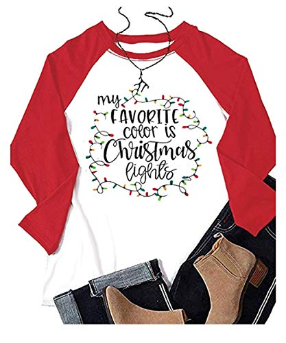 Beopjesk Womens My Favorite Color is Christmas Lights Shirts Casual Long Sleeve Raglan Tees Tops (XL, Dark Red)