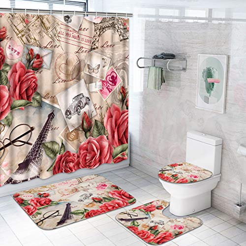 Ikfashoni 4 Pcs Valentine Shower Curtain Set with Non-Slip Rug, Toilet Lid Cover and Bath Mat, Romantic Eiffel Tower Shower Curtain with 12 Hooks, Vintage Fabric Shower Curtain for Bathroom
