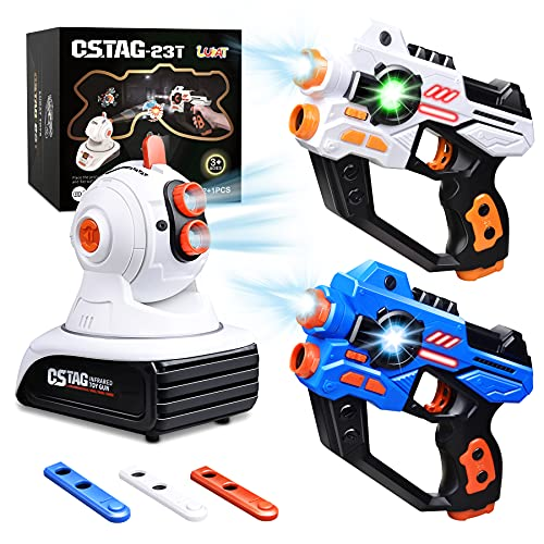 LUKAT Laser Tag Set, 2 Infrared Laser Gun with Projector & 3 Target Cartridges, Lazer Battle Game Toys for Kid Teens Adults Boys & Girls, Indoor Outdoor Family Group Activity, Gift for Kids Ages 6-12+