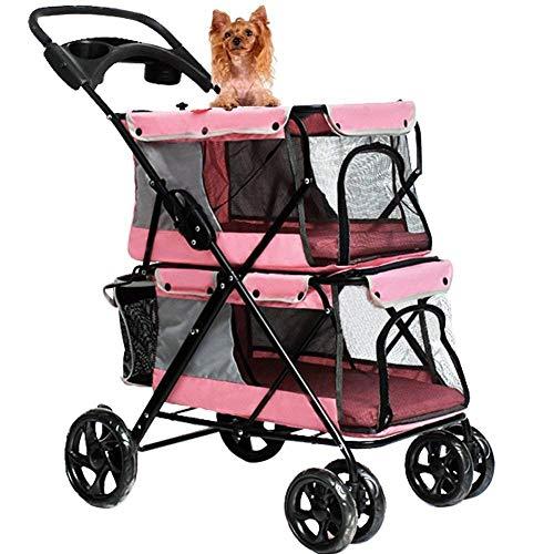 Lirui Lichte vouwende dubbele huisdier-pazi-accessoire, hond-grote ruimtewagen-kooi vierwielig in de buitenlucht speelruimte benodigdheden roze