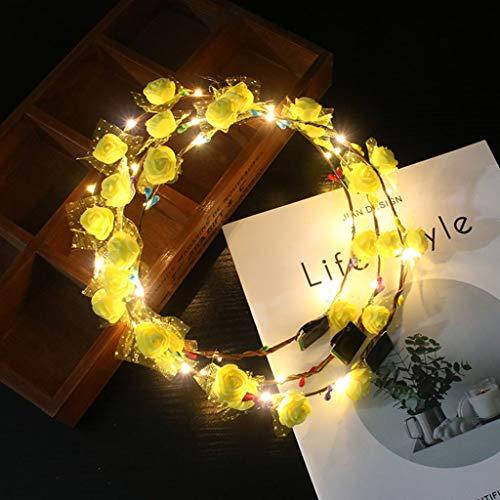 VIccoo Hawaii vakantie vrouwen meisjes LED lichtgevende schuim bloem hoofdband huwelijk knipperende slinger krans maskerade lichtgevende haarband - G#